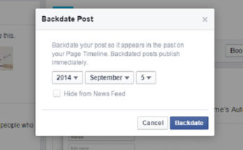 Facebook Post Backdate